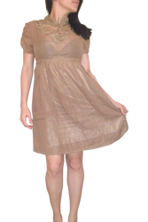 100% Cotton Crochet Dress is Beautifully Delicate. Khaki / Taupe.