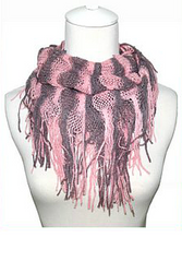 Boho-Chic Short Infinity Scarf in Coral Stripes!
