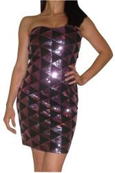 Pink/Black Strapless Sequin Dress in Diamond Geo Pattern!