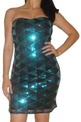 Teal/Black Strapless Sequin Dress in Diamond Geo Pattern!