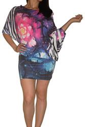 Galactic Floral Print One-Shoulder Dress!