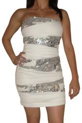Cream White Strapless Sequin Dress!