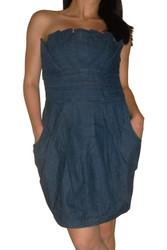 Pleated, Strapless Denim Dress with Pockets!