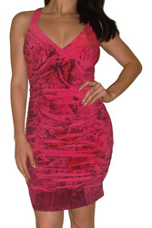 Halter Dress with Criss-Cross Back! Fuchsia/Red Floral Pattern.
