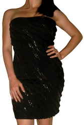 Black Strapless Sequin Cocktail Dress!