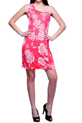 Off-the-Shoulder Dress in Coral with White Floral Print! ONE SIZE (Up to Size 14/16).