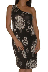 Off-the-Shoulder Dress in Black with White Floral Print! ONE SIZE (Up to Size 14/16).