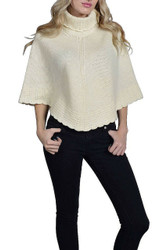 CARDIGAN PONCHO is 100% Lamb's Wool! Button-Neck. Ivory.