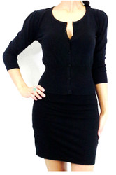Cotton, 3/4 Long Sleeve Cardigan from LOVE 2 B FREE! Black.