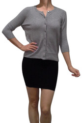 Cotton, 3/4 Long Sleeve Cardigan from LOVE 2 B FREE! Heather Grey.
