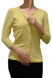 Cotton, 3/4 Long Sleeve Cardigan from LOVE 2 B FREE! Mustard Green.