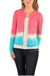 Cotton & Natural Fiber Cardigan! Fuchsia with Gradient Tie Dye.