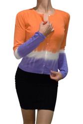 Cotton & Natural Fiber Cardigan!  Orange with Gradient Tie Dye.