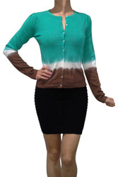 Cotton & Natural Fiber Cardigan! Teal Green with Gradient Tie Dye.