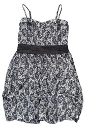Black & White Lace Dress with Sweetheart Neckline.