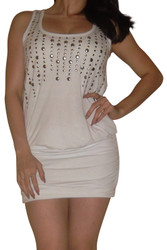 White Bodycon Dress with Silver Studs!