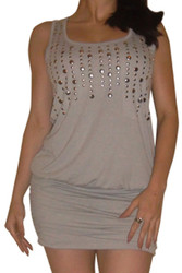 Sophisticated Grey Bodycon Dress with Silver Studs!