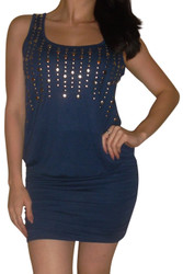 Navy Blue Bodycon Dress with Silver Studs!