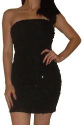 Ruffled Strapless Cocktail Dress!  Black.