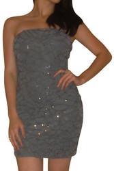 Ruffled Strapless Cocktail Dress!  Grey.