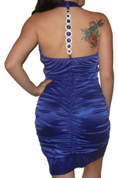 Bodycon Dress with Jeweled Halter Back! Purple.