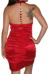 Bodycon Dress with Jeweled Halter Back! Red.