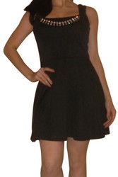 Classic Black Dress with Built-In Necklace. Black.