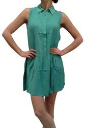 100% Rayon Mint/Jade Green Dress with Collar & Peplum Effect!