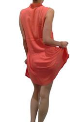 100% Rayon Coral Dress with Collar & Peplum Effect!