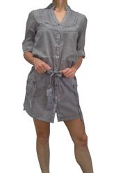 100% Cotton Navy/White Pinstriped Shirt-Dress!
