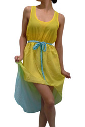 Yellow & Teal Dress with Bow from Ali & Kris!