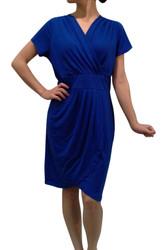 PLUS SIZE Short Sleeve Dress. Blue.