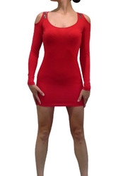 Long Sleeve Red Dress with Studs & Cutout Back!