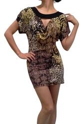 Cap Sleeve, Cowl Neck Tunic Dress! Gold Cheetah Print.