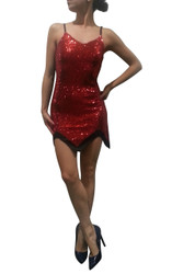 92% Cotton, Sexy Sequin Dress! Red with Black Back.