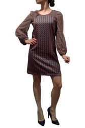 Geo Print Long Sleeve Shift Dress with Zipper Back!