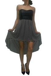 Black Vegan Leather Corset Dress with Black & Cream Chevrons!