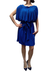 Belted, Cobalt Blue Dress with Cutout Shoulders!