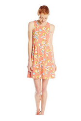 High Cut Coral Dress with Keyhole Back & Floral Print.
