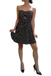 Black & White Polka Dot Dress with Yellow Straps!