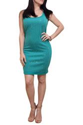 Bodycon Dress with Full Micro Stones Pattern! Sea Foam / Mint Green.