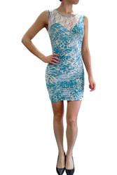 Lace Bodycon Dress in Blue Cheetah Animal Print.