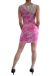 Lace Bodycon Dress in Pink Cheetah Animal Print.
