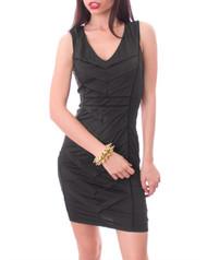 Black Pleated Bodycon Dress!