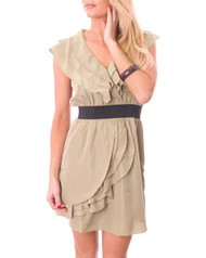 Short Sleeve, Ruffle Dress with Black Banded Midriff!