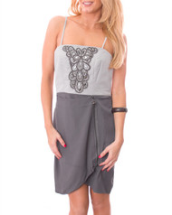 Strapless Tube Dress with Built-In Jewelry! Grey.