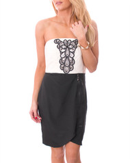 Strapless Tube Dress with Built-In Jewelry! Black & White.