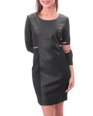 65% Cotton Dress with Faux Leather & Zipper Back! Black.