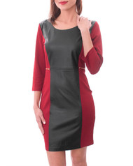 65% Cotton Red Dress with Faux Black Leather & Zipper Back!