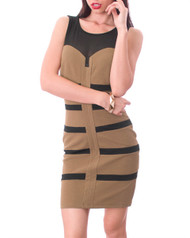 Brown & Black Dress with Long Zipper Back!